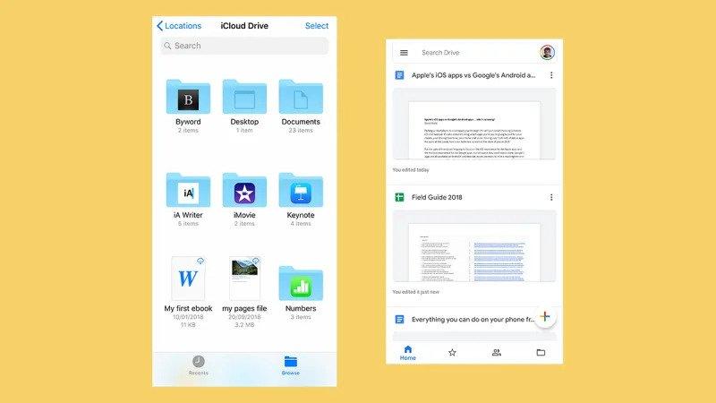 Appleの「ファイル」(左)とGoogleドライブ(右)