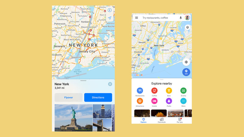 Appleの「マップ」(左)とGoogle Maps(右)