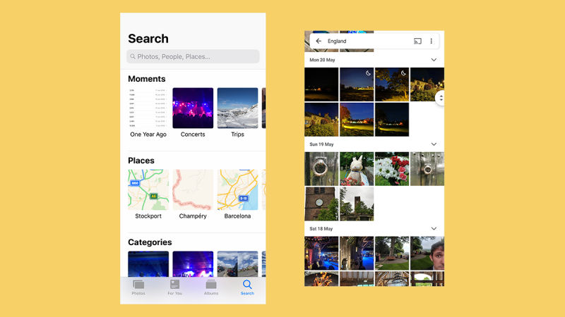 Appleの「写真」(左)とGoogleフォト(右)