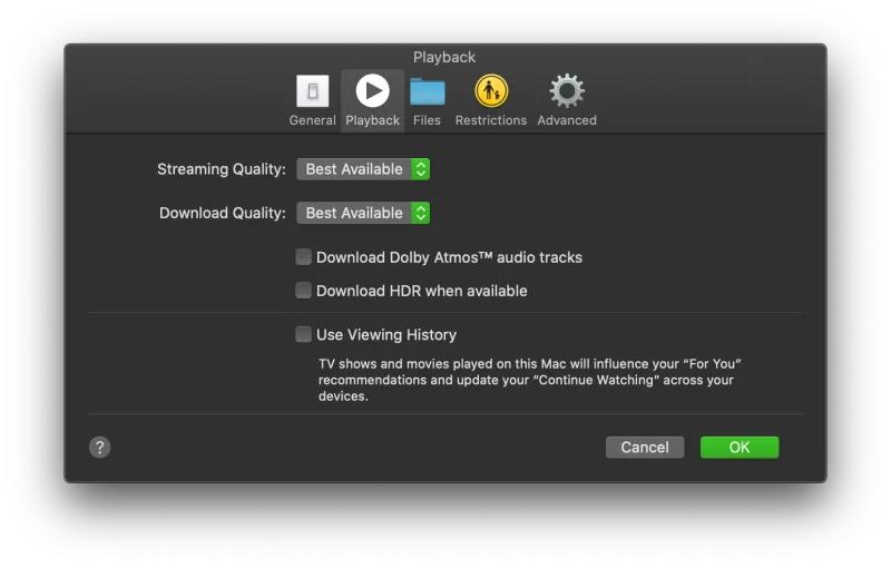 『Apple TV』アプリの動画再生設定