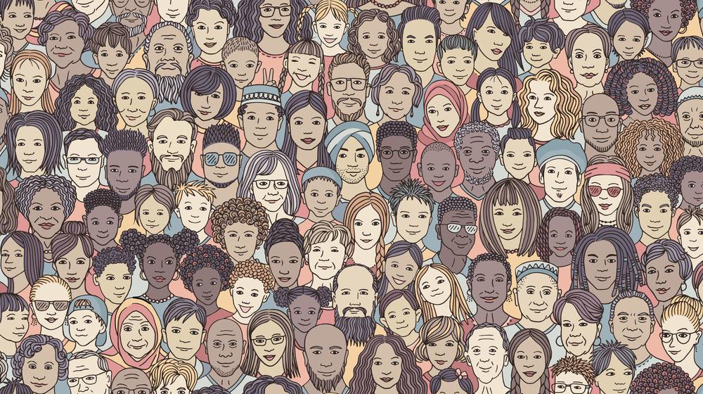 様々な人種、性別、いろんな顔