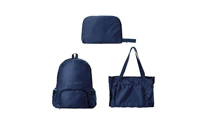 手のひらサイズのポーチがバックパックとトートバッグに変身、軽量で大容量