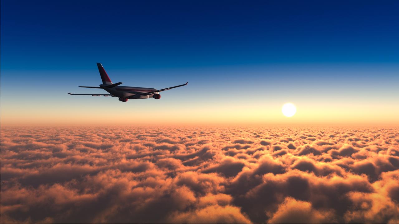 早朝のフライト