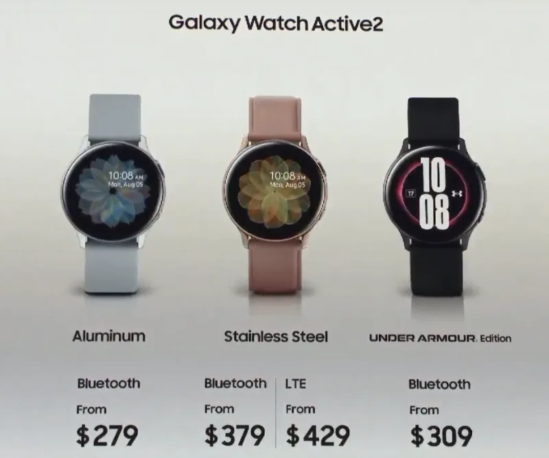 Galaxy Watch Active2の各バージョン
