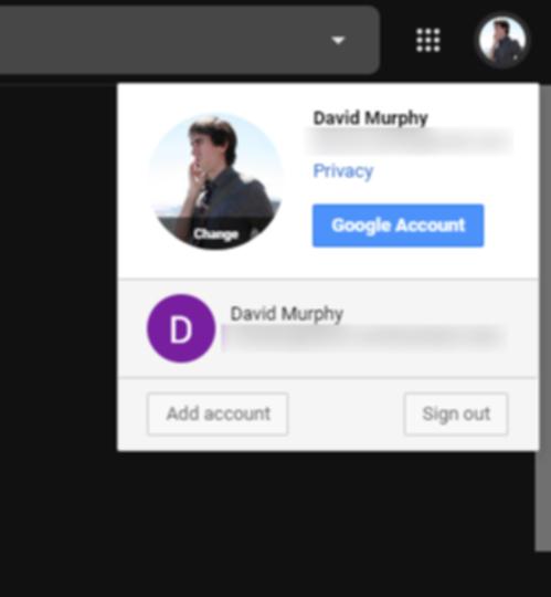 2つのGoogleアカウントの画面