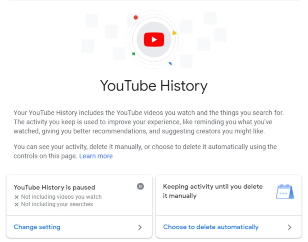 YouTube視聴履歴の画面