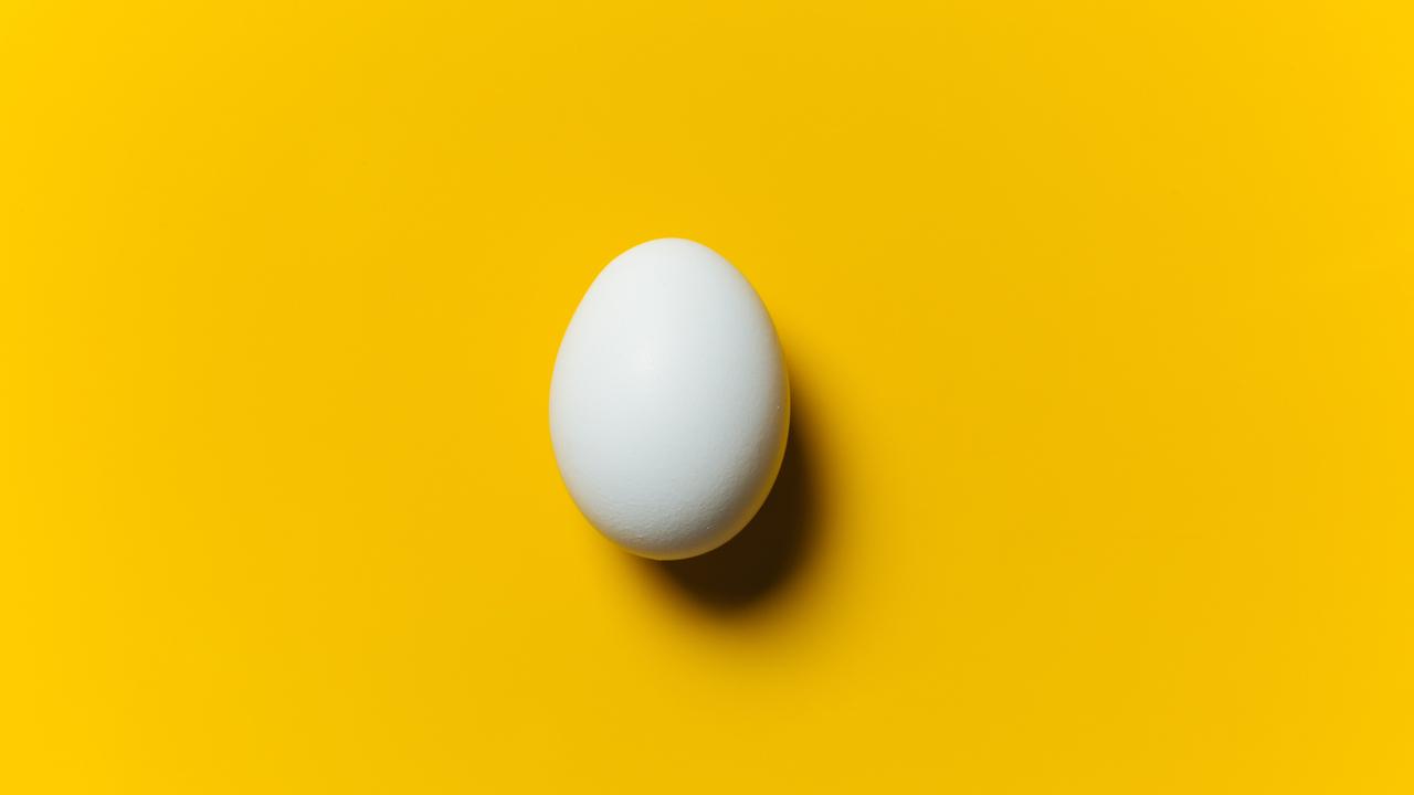 黄色の背景に置かれた1つの卵