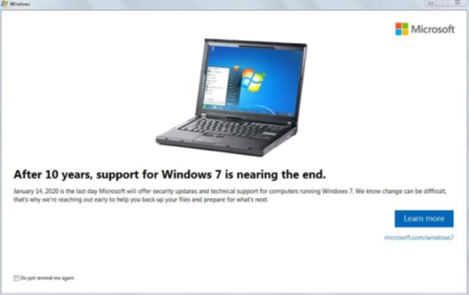 Windows 7終了の通知画面