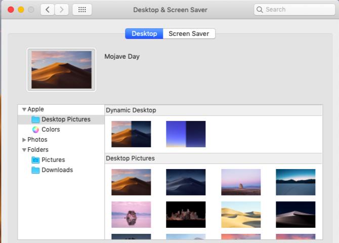 システム環境設定のデスクトップの画面