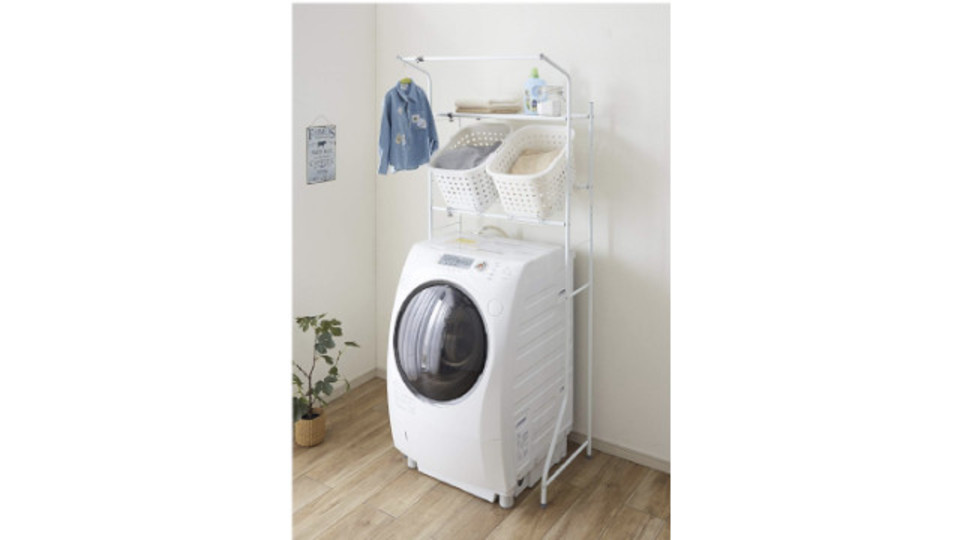 Photo of Laundry goods are collected on the washing machine! Rack with storage shelves that can be used in 2 ways and hanger bars