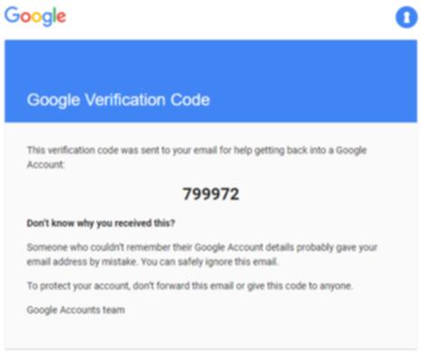 Googleの認証コード画面