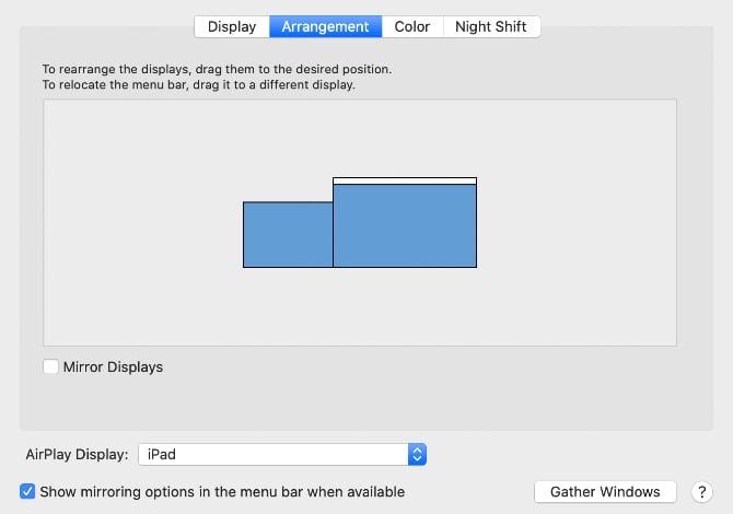 システム環境設定のディスプレイの配置の画面