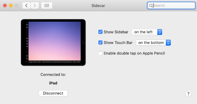 Sidecarのメニュー画面