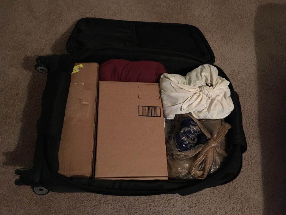 荷物をパッキングしたところ