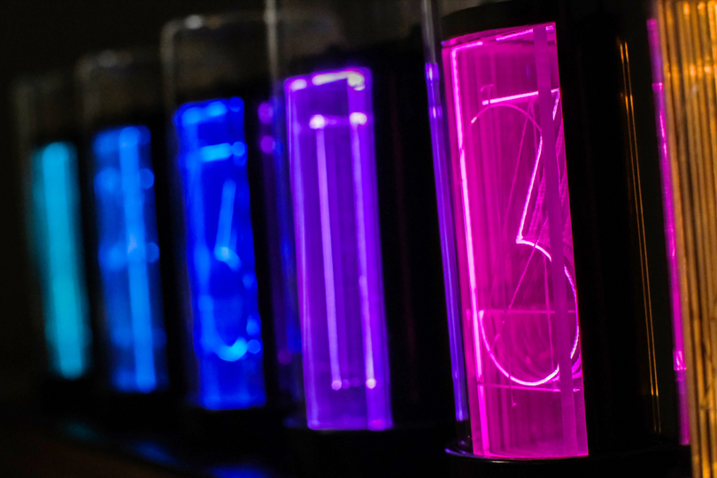 Photo of Gixie Clock, a retro art time display with LED light emission
