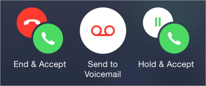 着信画面のボタン