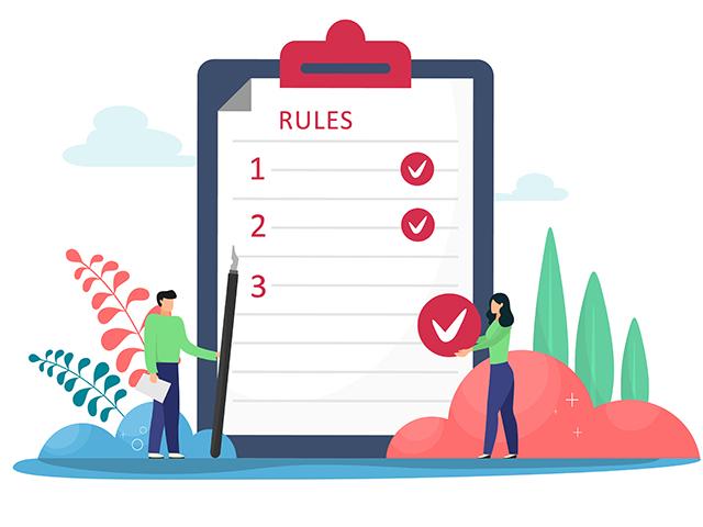 ルールを書いたボードのイラスト
