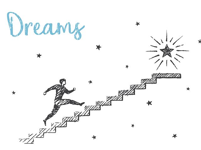夢に向かって階段を上る女性