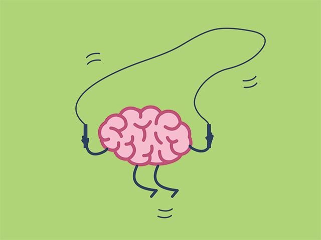 脳が縄跳びをするイラスト
