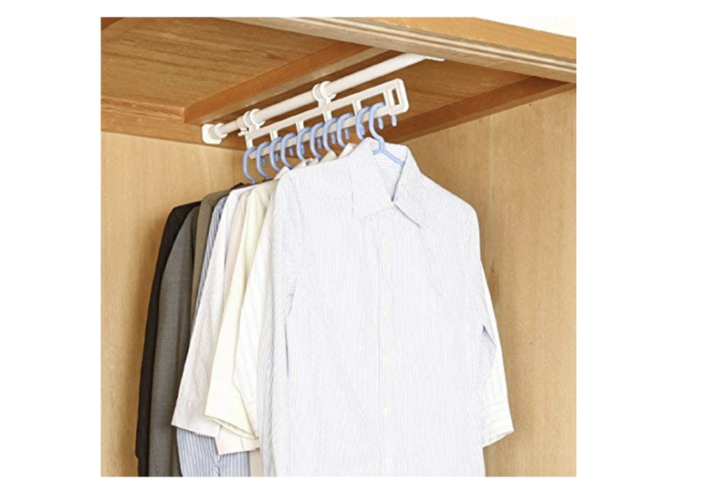 Photo of Strut rod and hanger rack unite. A lot of clothes can be stored in the closet