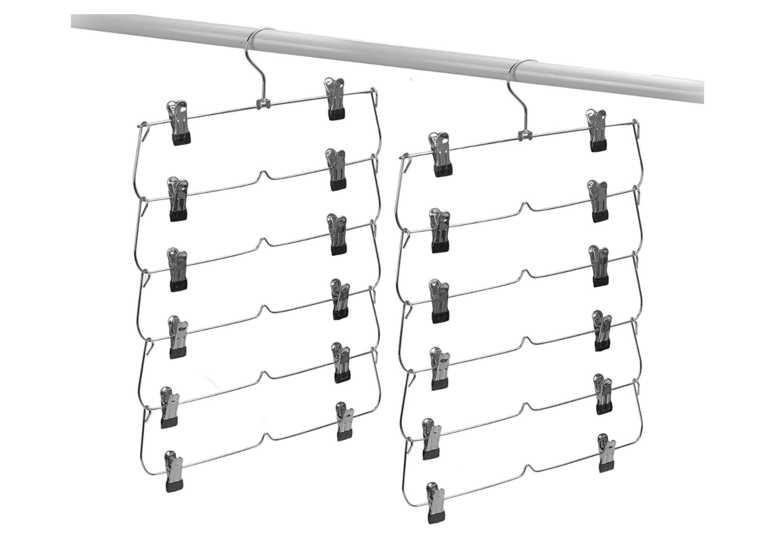 Photo of A clip-type 6-stage hanger that allows 6 pieces of clothing to be quickly hanged in the space of one piece