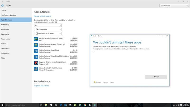 Windowsのアプリと機能の画面
