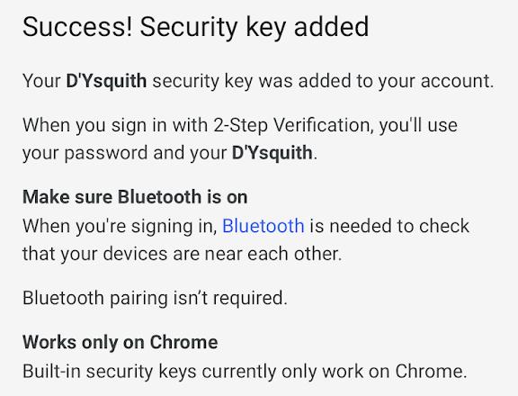iPhoneを二段階認証のセキュリティキーに設定した画面