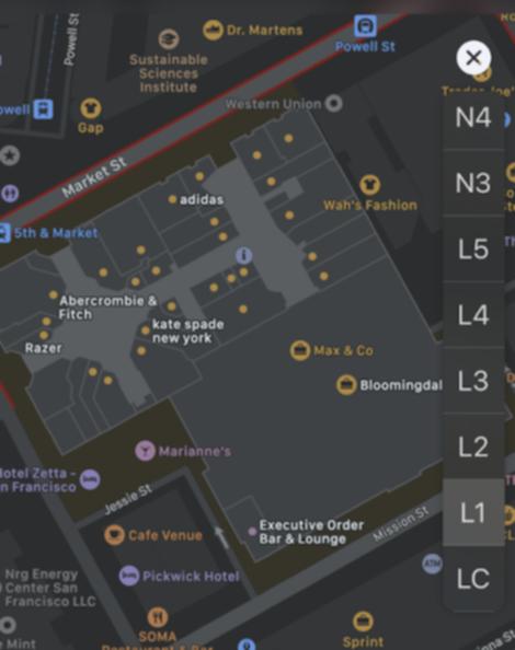 ショッピングモール内のマップ