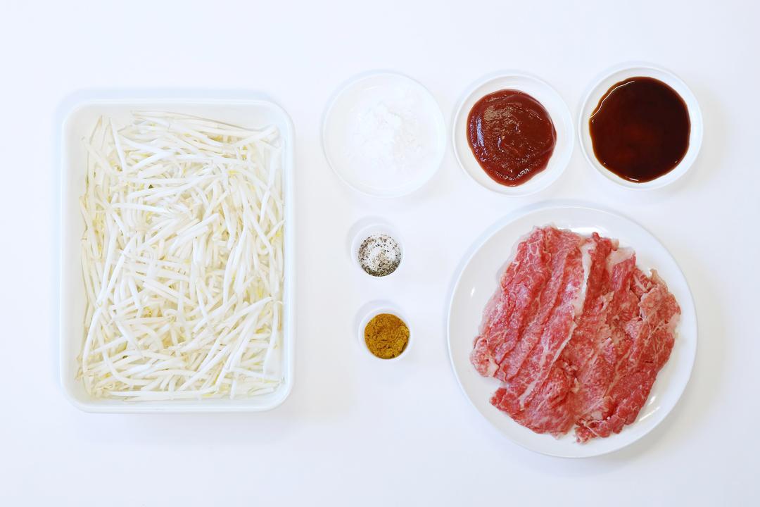 「牛肉のカレー炒め風」の材料
