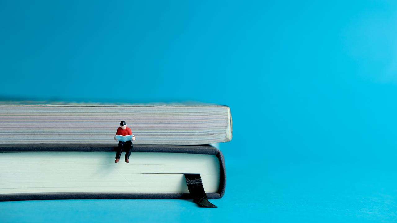 本に座った小さな人形