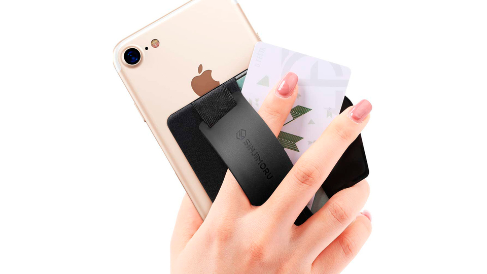 Photo of A thin smartphone holder that you can hold with a wide band. A card case and stand function that can hold 5 cards!