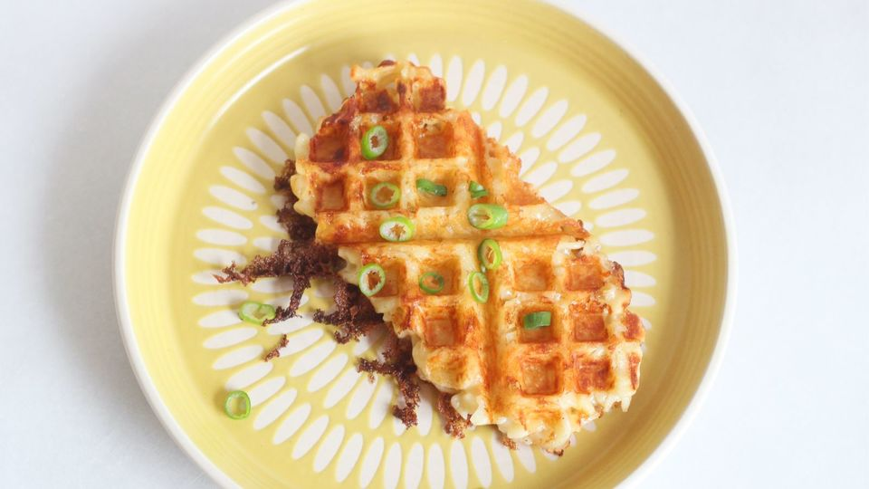 Photo of The surplus macaroni cheese tastes different in a waffle maker!