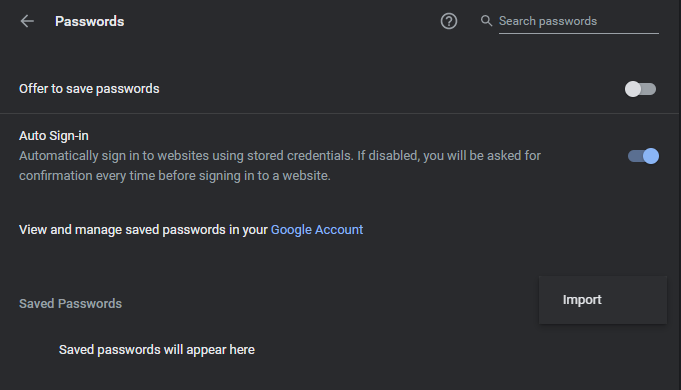 Offer to save passwords