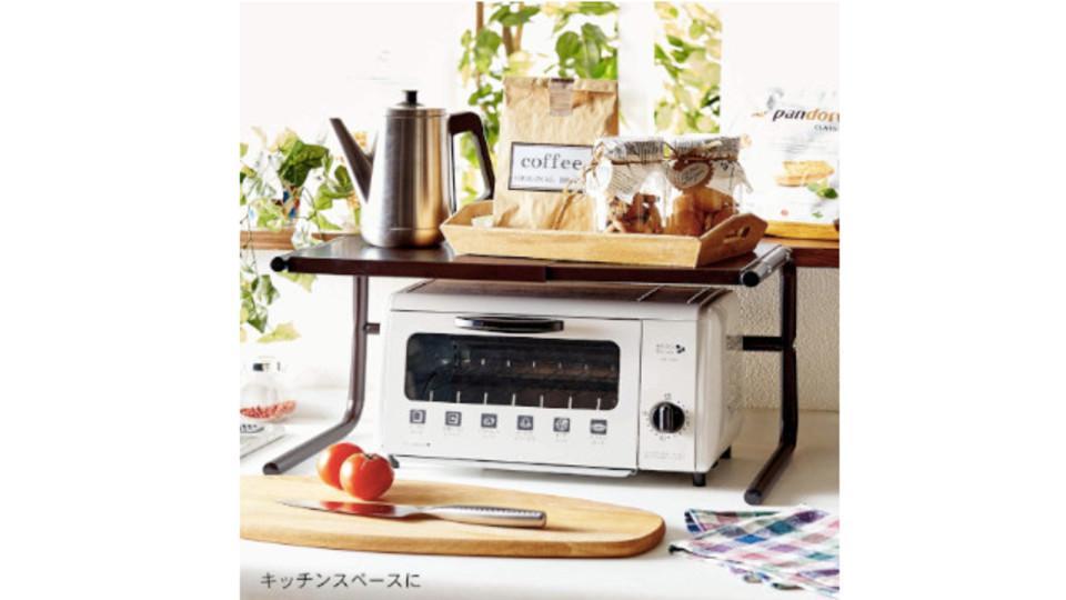 Photo of The top plate can be freely expanded and contracted, and the rack on which home appliances can be placed in two steps is also convenient as a PC desk
