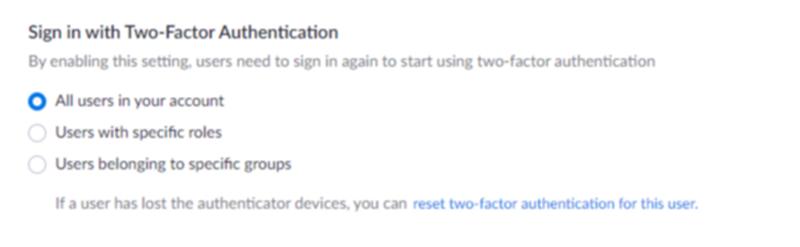 2段階認証の設定画面