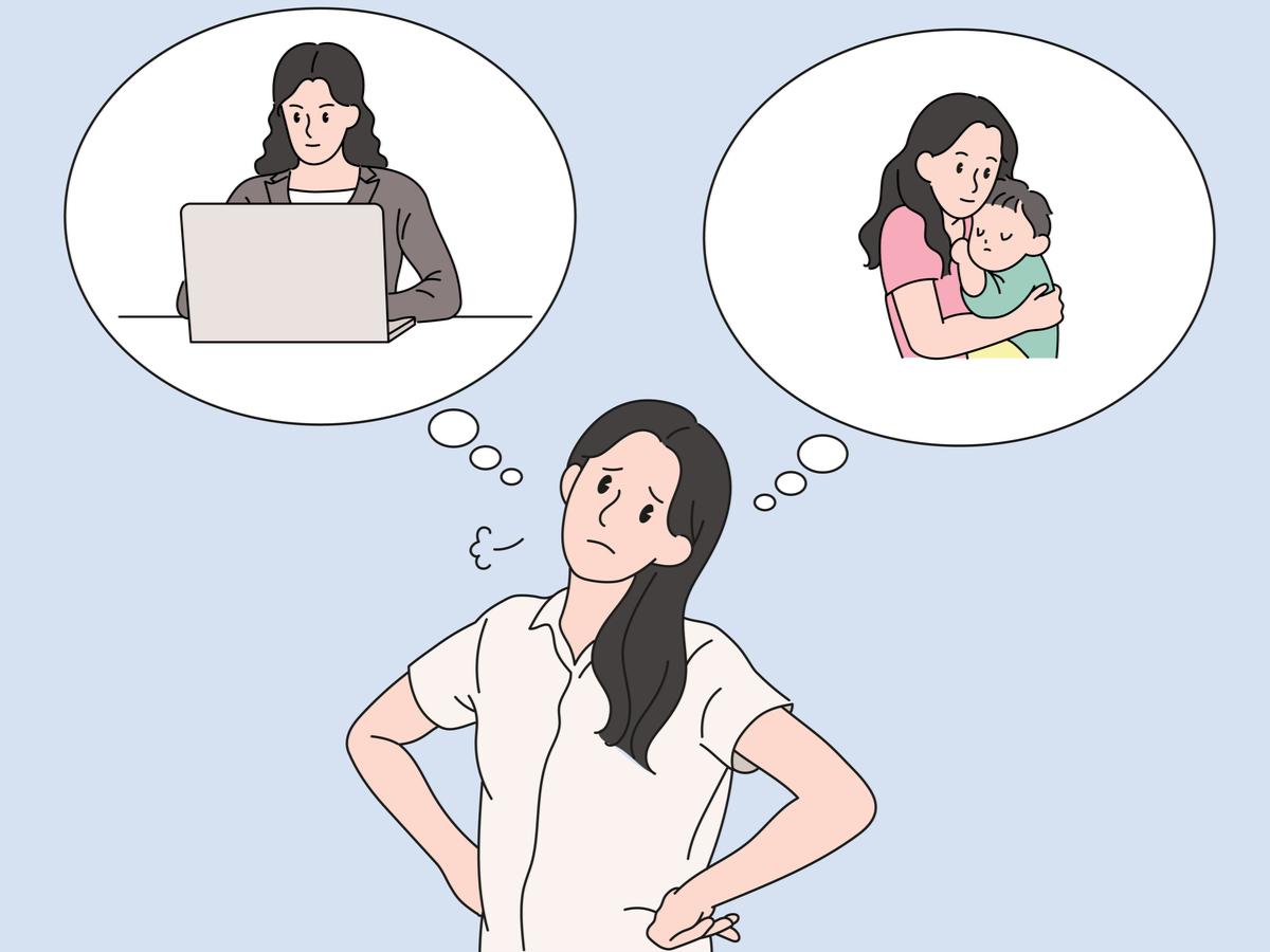 仕事と育児に悩む女性