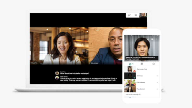 GoogleMeetでビデオ会議をしている画面