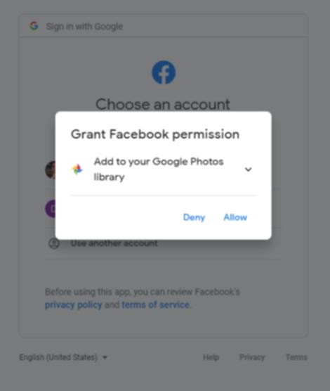 Facebookにアクセス許可をする確認画面