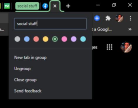 色分けしたタブグループの画面