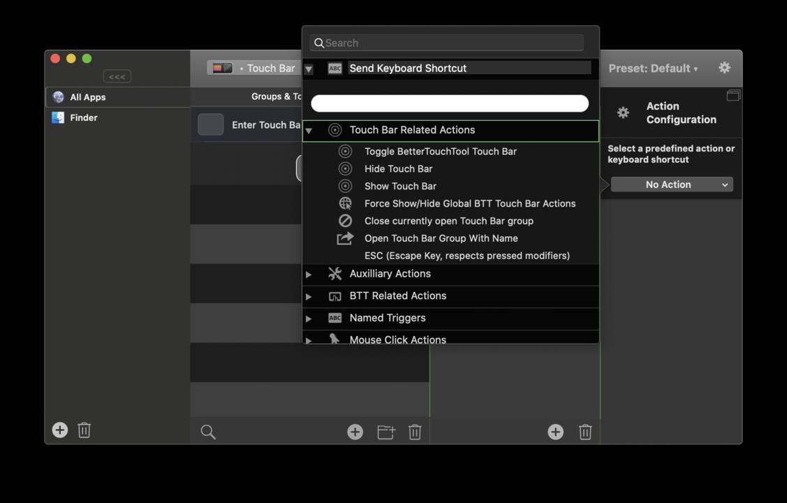 『BetterTouchTool』「タッチバー関連の操作」を選択