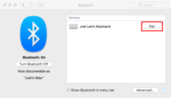 MacのBluetoothの設定画面