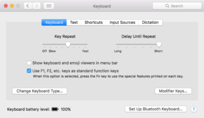 Macのキーボードの設定画面