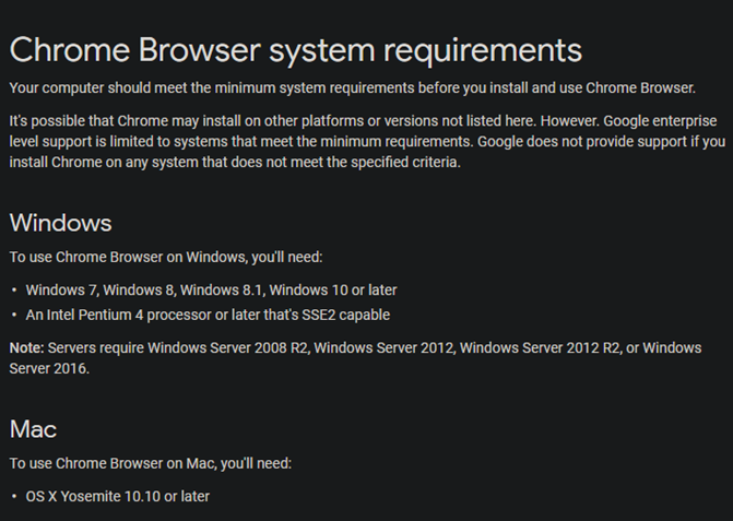 Chrome-System-Requirements