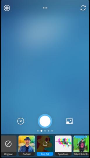 Photoshop Cameraアプリの画面