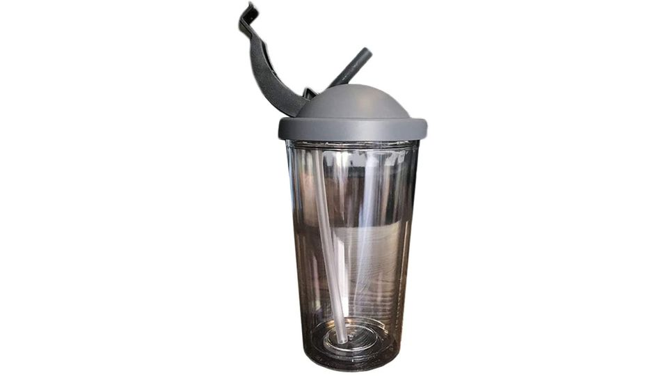 Photo of A tumbler with a double structure that is perfect for carrying around and can store a straw to prevent condensation