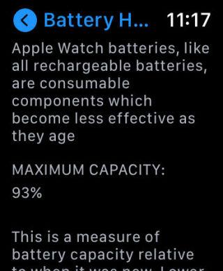 Apple Watchのバッテリーの状態の画面