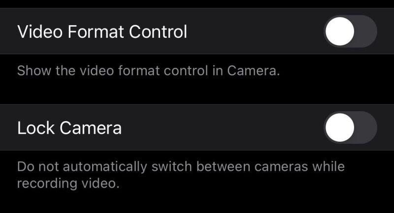 カメラの動画の設定画面