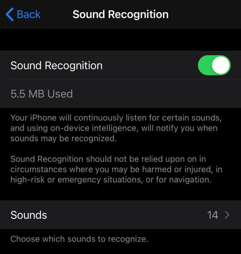 音声認識の設定画面