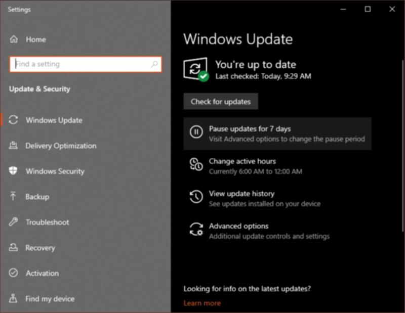 WindowsUpdateの画面