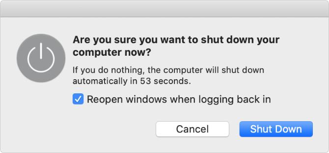 Macのシステム終了画面
